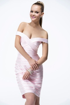 Off-the-Shoulder Spalte sexy V-Ausschnitt kurz/Mini Cocktail-Kleid