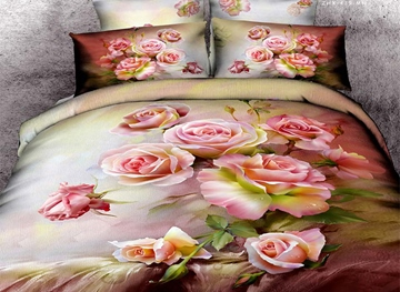 Vivilinen 3D Cluster of Pink Roses Printed Cotton 4-Piece Bedding Sets/Duvet Covers