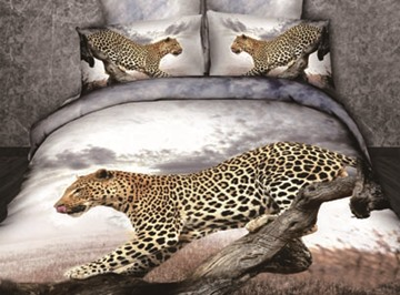 3D Leopard on the Tree Trunk Printed Cotton 4-Piece Bedding Sets/Duvet Covers