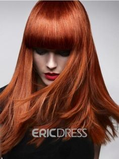 Long Straight Synthetic Hair With Bangs Capless WIg 16 Inches