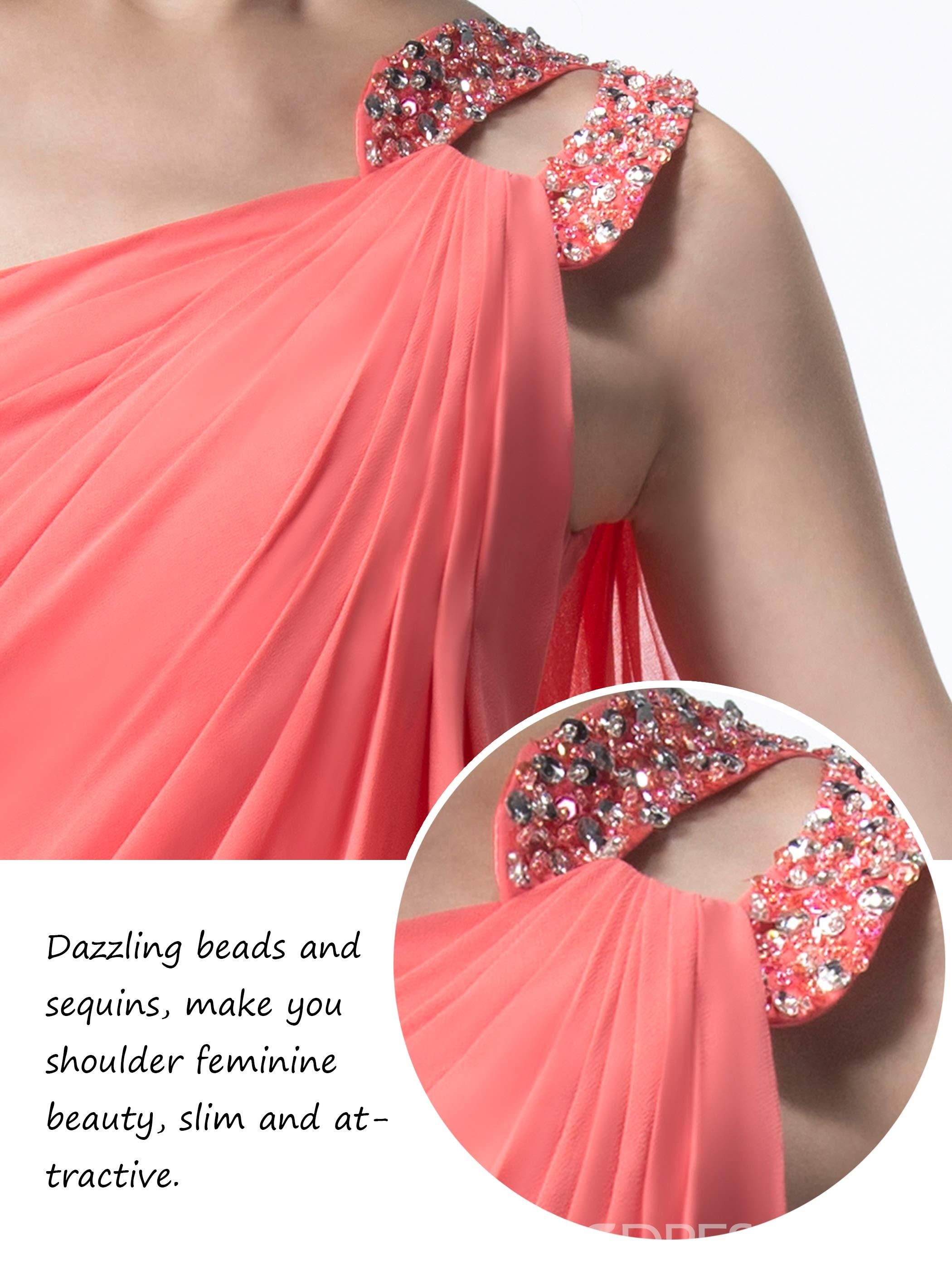 Pretty One Shoulder Beading Chiffon Floor Length Prom/Evening Dress