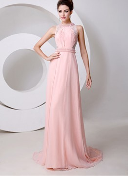 Style Graceful Jewel Neck Pearls A-Line Floor Length Evening Dress