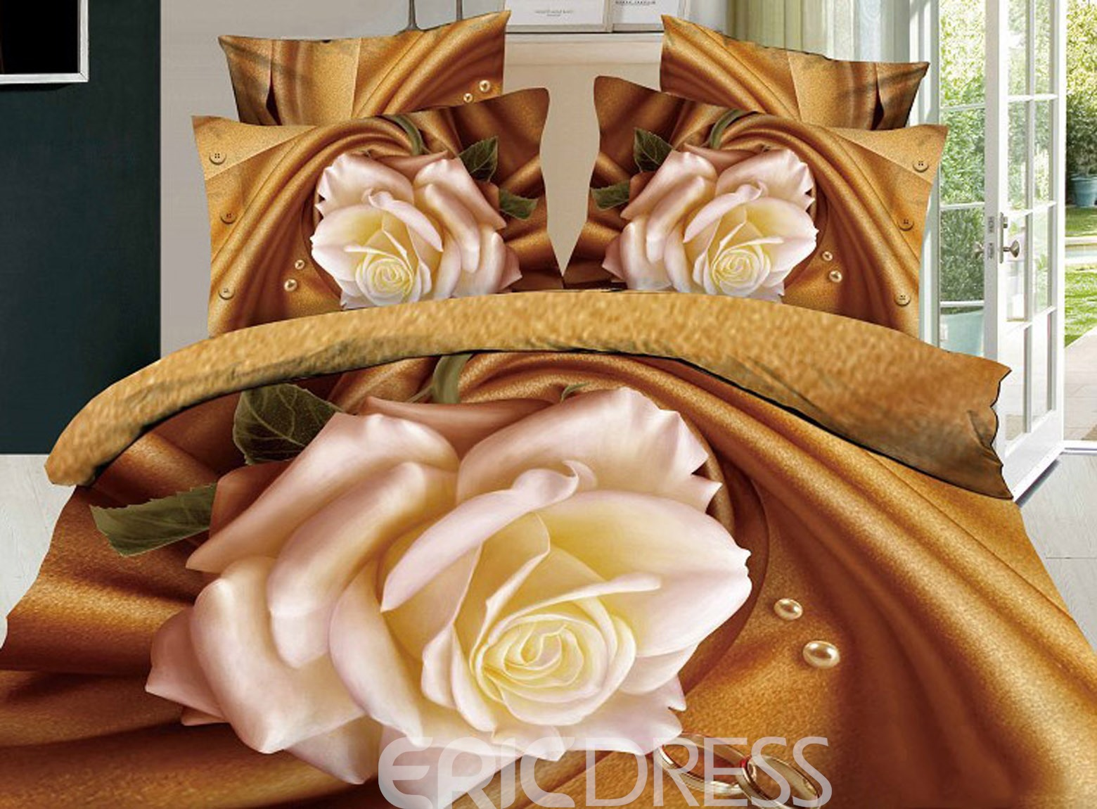 Pure Yellow Rose 3D 100% Cotton Bedding Sets 10848364