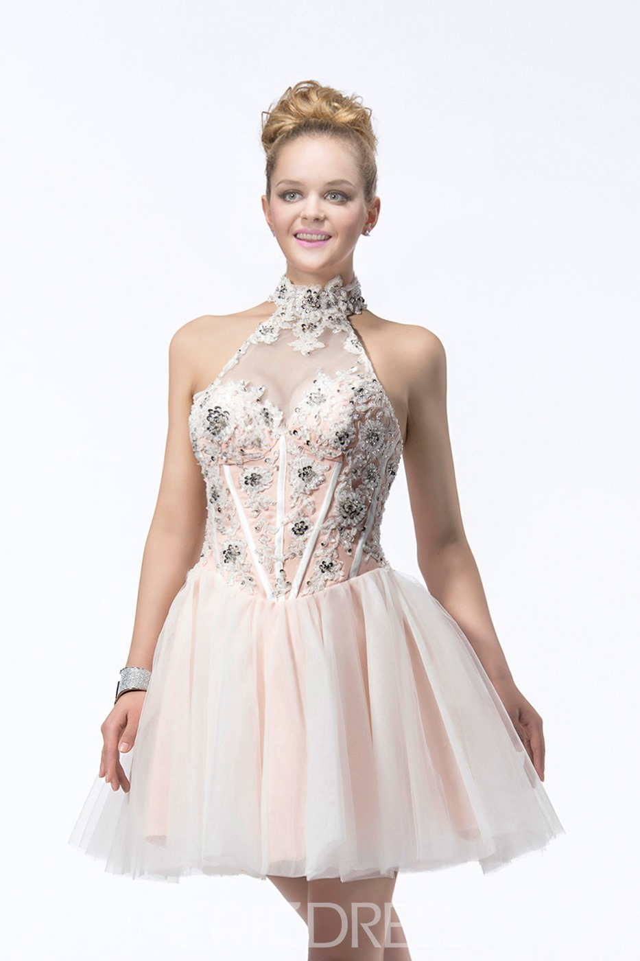 Latest A-line Sleeveless Appliques&Sequins Jewel Neck Short/Mini Length Cocktail/Prom Dress