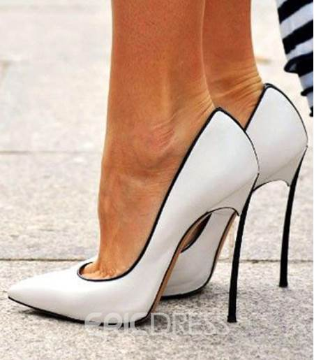 Chic White Copy Leather Stiletto Heel Shoes