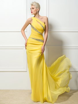 Ericdress Yellow One-Shoulder Floor-Length Sweep Train Evening/Prom Dress