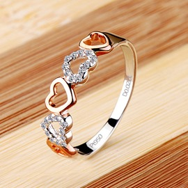 NSCD 2 Point Romantic Heart 925 Silver Ring