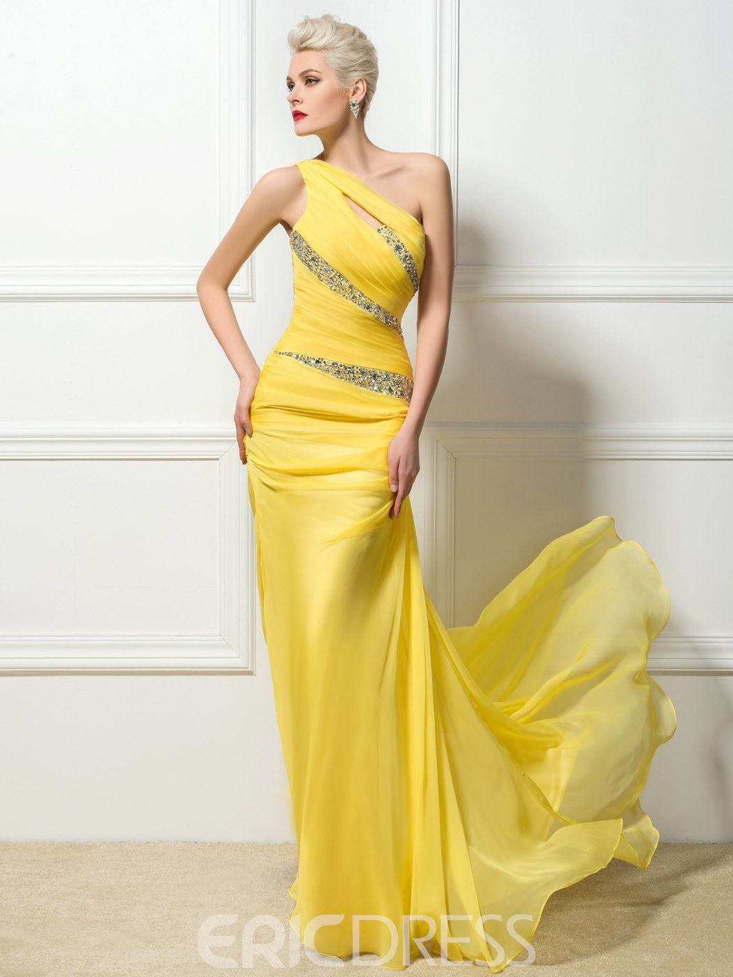Ericdress One-Shoulder Floor-Length Evening Dress With SweepTrain ...