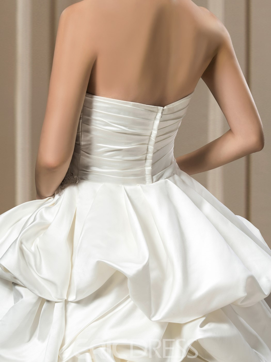 Attractive Strapless Beading Chapel Train A-line Wedding Dress
