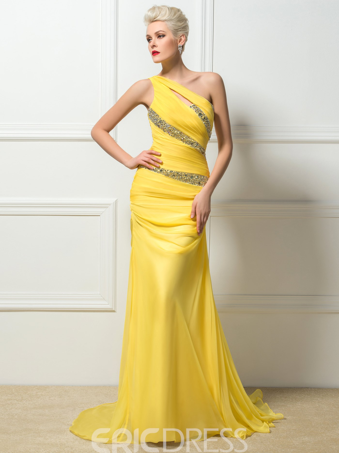 Ericdress One-Shoulder Floor-Length Evening Dress With SweepTrain