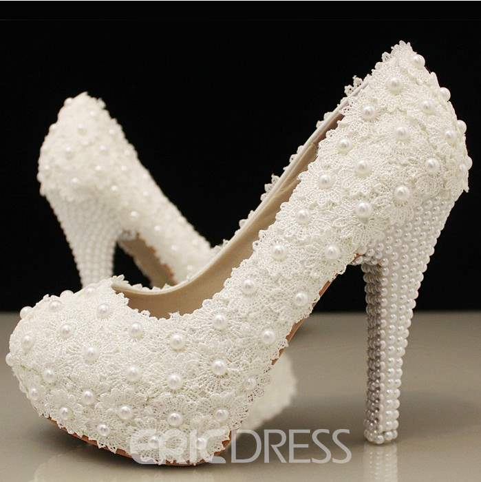 Ericdress Stiletto Heel Lace Round Toe Wedding Shoes