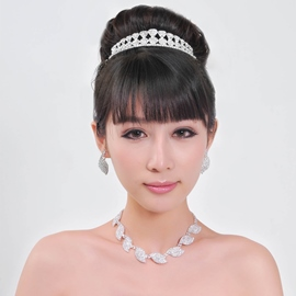 Charming Alloy with Rhinestone Wedding Jewelry Set(Including Tiara)