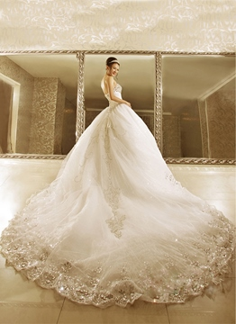 Ericdress Luxurious Ball Gown Cathedral Train Wedding Dress