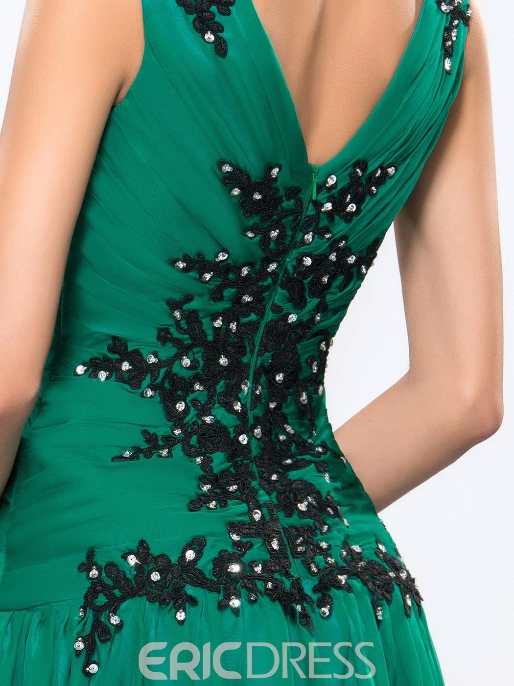 Gorgeous V-Neck Beading Applique A-Line Floor Length Evening Dress