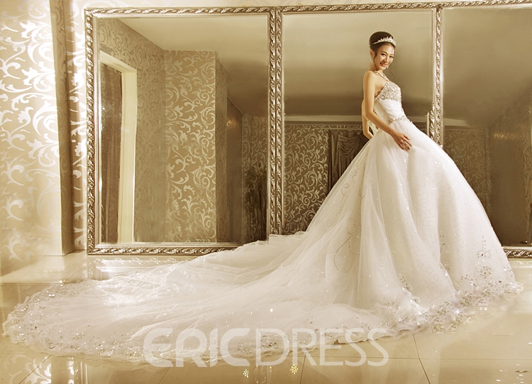 Luxurious Ball Gown Strapless Cathedral Train Wedding Dress