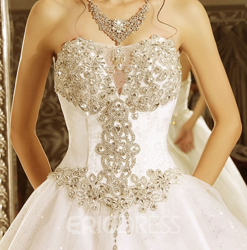 Ericdress Sequins Appliques Ball Gown Cathedral Train Wedding Dress