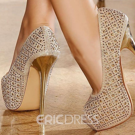 Delicate Golden Stiletto Heel Queen Closed Toe Large Size Pumps