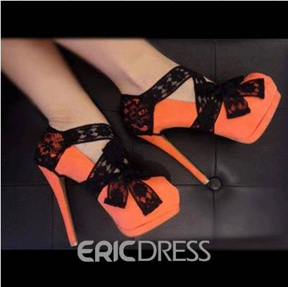 Orange Suede Lace Bowtie High Heel Prom Shoes