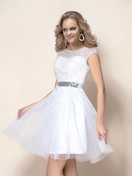 Glamorous Short/Mini Beading Bateau Neckline Wedding Dress