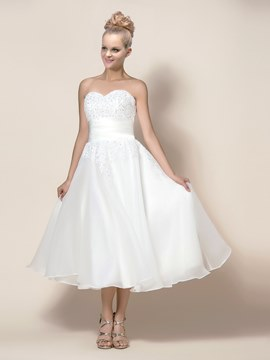 Concise Tea-Length A-Line Wedding Dress