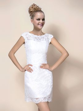 Sheath Jewel Cap Sleeves Wedding Dress