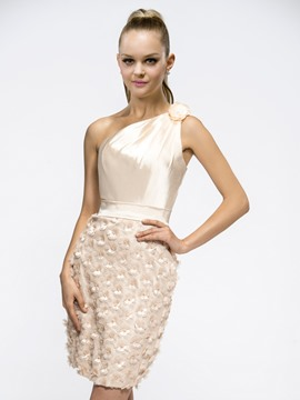 Special Sheath/Column Short/Mini One-shoulder Cocktail Dress