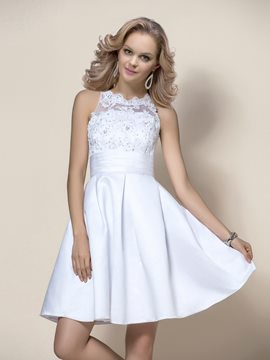 Stunning Short/Mini Beading Appliques Zipper-Up Wedding Dress