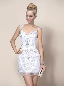 Glamorous Sheath Sequins Sleeveless Straps Cocktail Dress