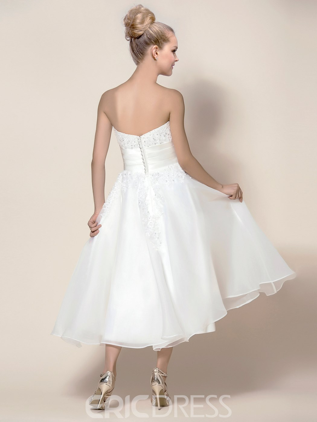 Concise Tea-Length A-Line Wedding Dress With Jacket