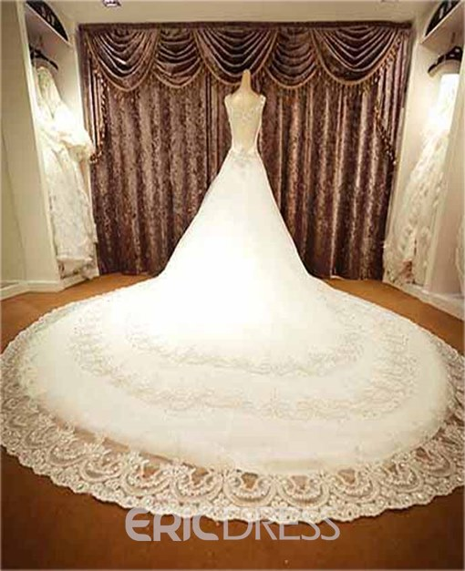 Luxurious A-Line Crystal Bateau Neckline Cathedral Wedding Dress