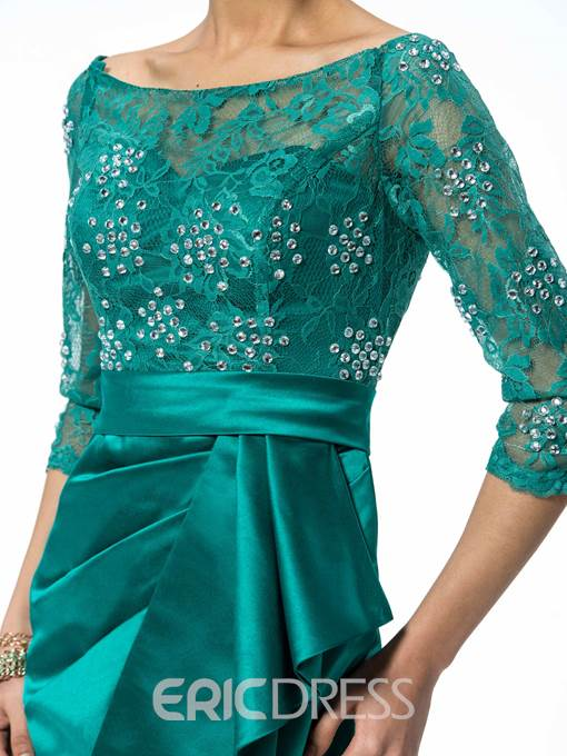 Glamorous Short Lace Scoop Neckline Mother Dress