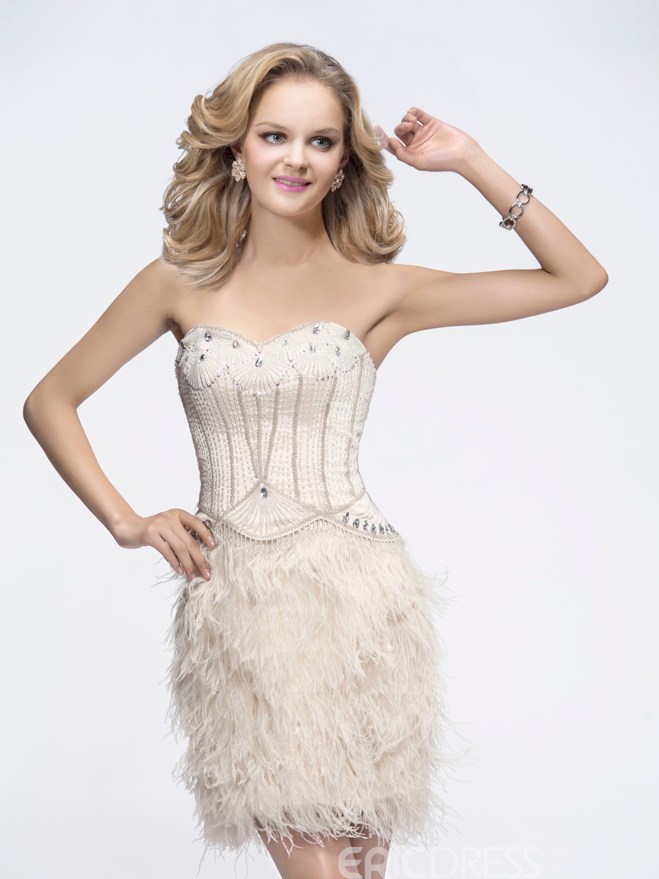 Fascinating Sweetheart Neckline Beading Feathers Comely Cocktail Dress