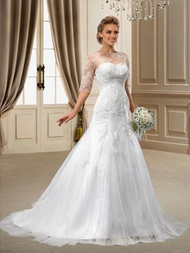 A-Line 1/2 Sleeves Appliques Court Wedding Dress