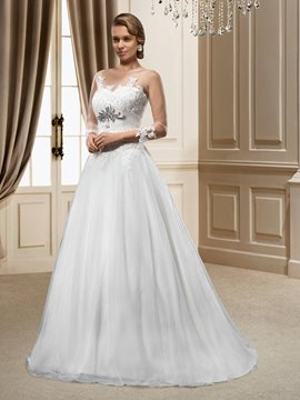 Hot A-Line Jewel Appliques/Sequins Court Train Wedding Dress