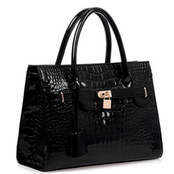 Fashion Elegant Croco and Lock Handbag for Women фото