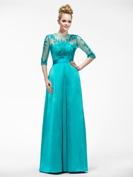 Elegant A-Line Half-Sleeve Appliques Jewel-Neck Mother of the Bride Dress