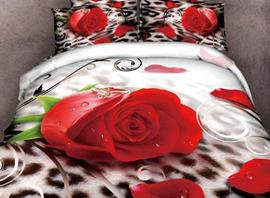 3D Red Rose with Drops Leopard Prints Cotton 4-Piece Bedding Sets/Duvet Cover