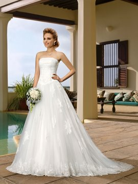 Glamorous A-Line Button Lace Court Train Strapless Wedding Dress