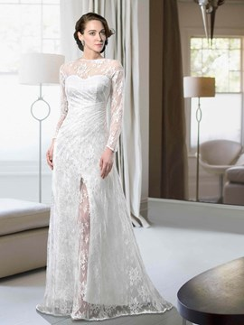 Glamorous Long Sleeves Bateau Split-Front Wedding Dress