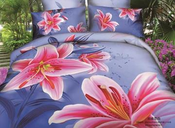 3D Pink Lily Printed Cotton 4-Piece Blue Bedding Sets/Duvet Covers