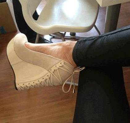 Comfortable White Suede Wedge Heel Shoes