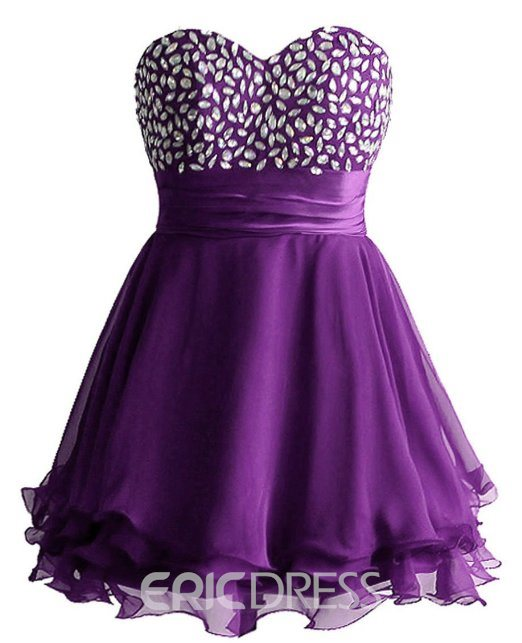 Chic Sweetheart Beading Lace-up Short/Mini Cocktail/Homecoming Dress