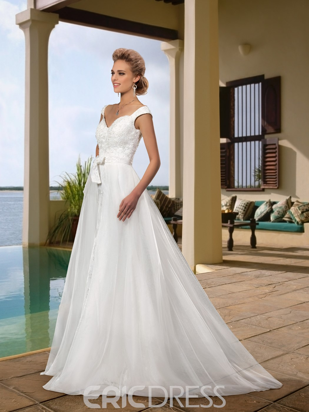 Glamorous A-Line Buwkont Sashes Sweet Train Beading Straps Wedding Dress