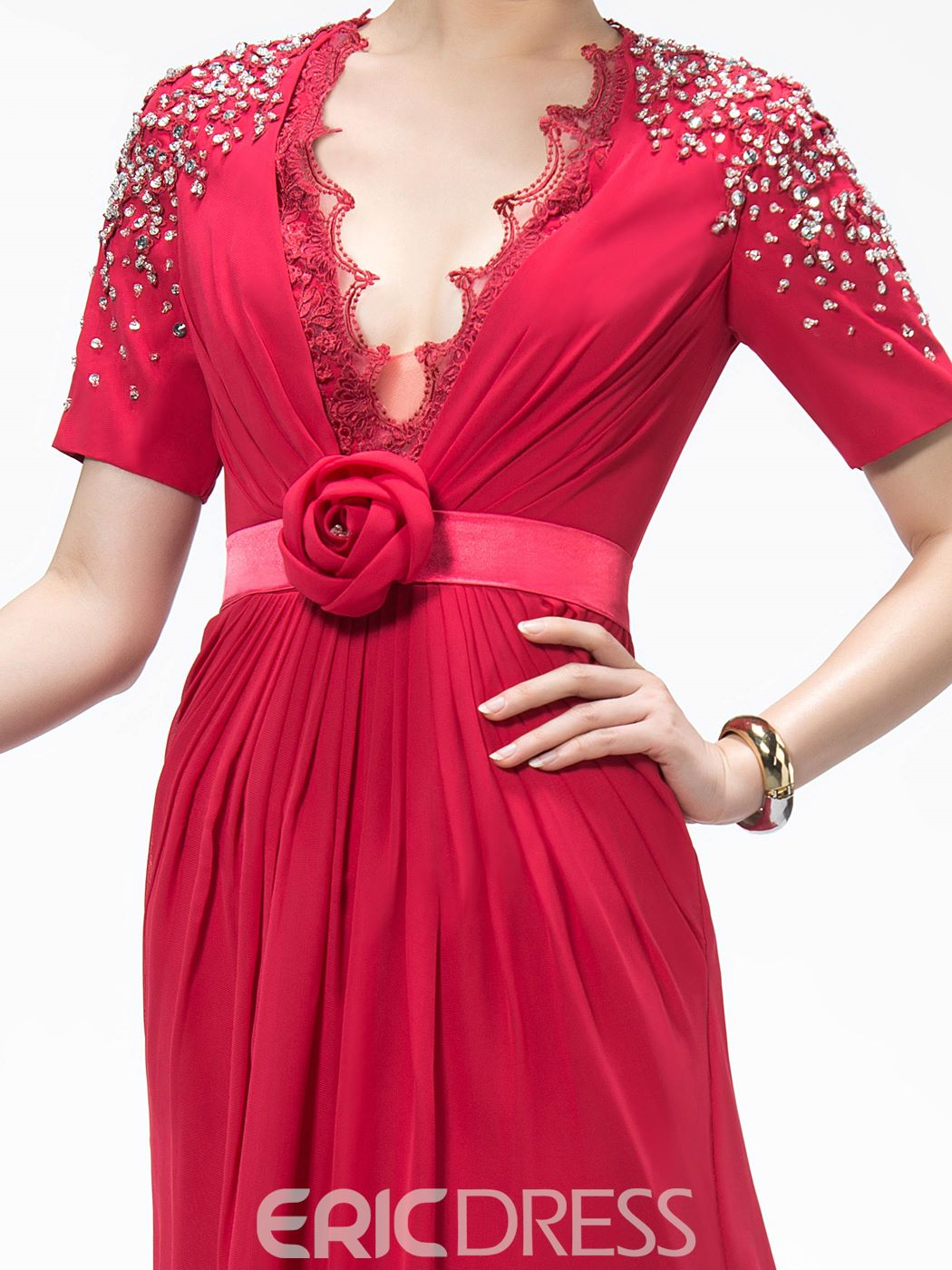 Fascinating Deep V-Neck Short-Sleeves Beading Flower(s) Mother of the Bride Dress