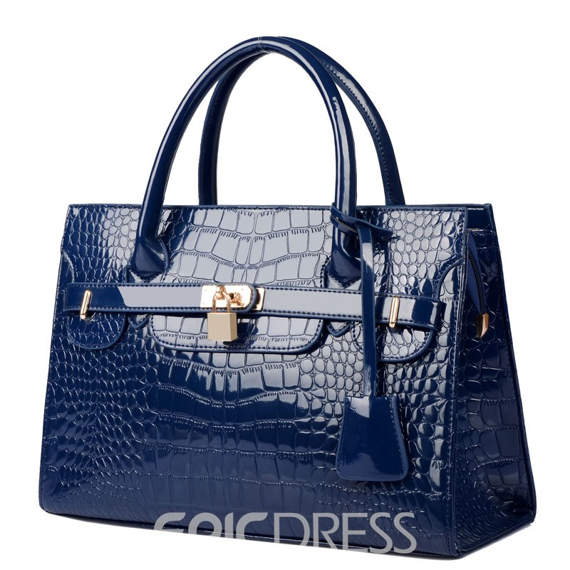 Fashion Elegant Croco and Lock Handbag for Women