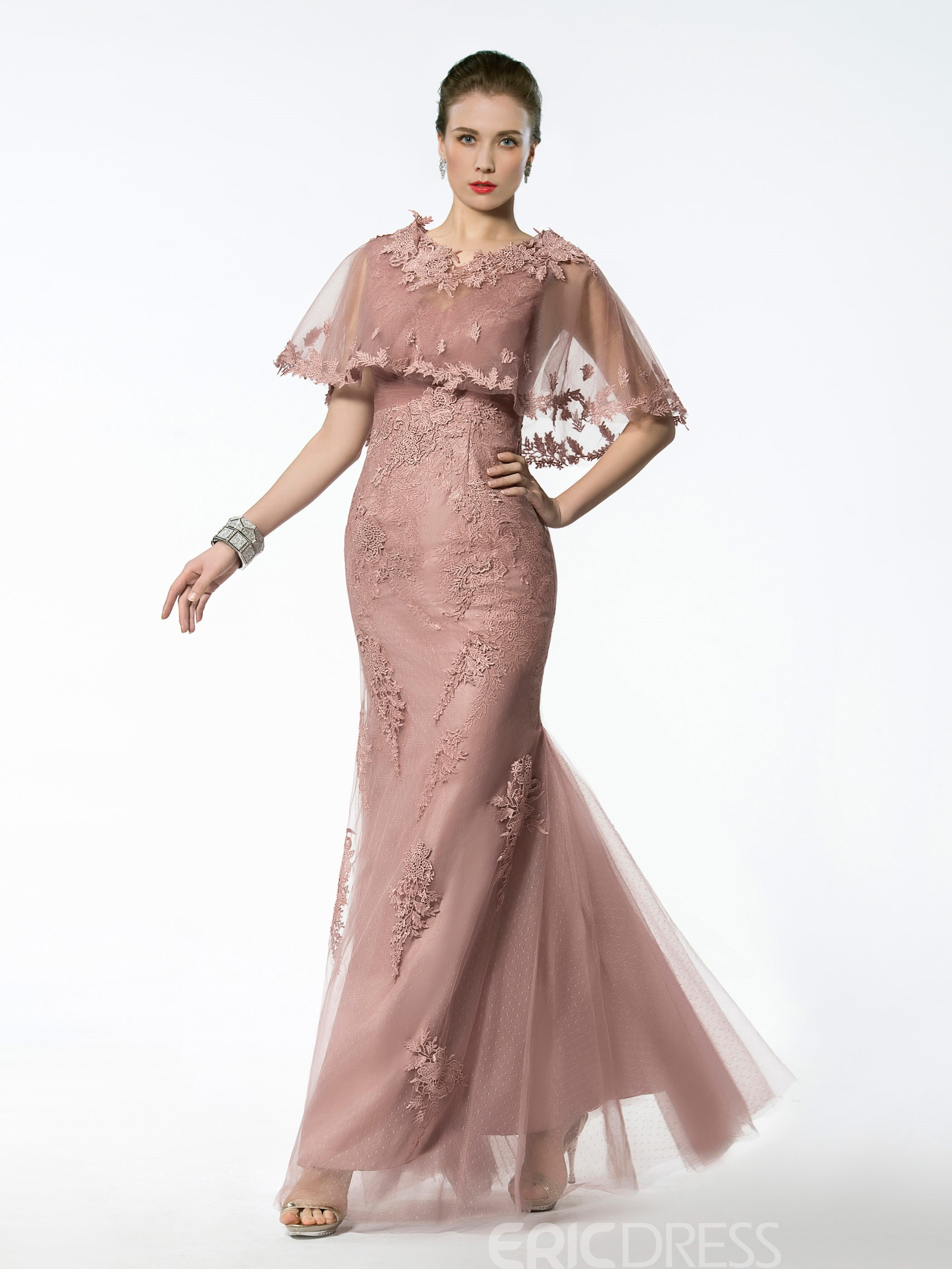 Ericdress Fancy V Neck Appliques Mermaid Mother of the Bride Dress