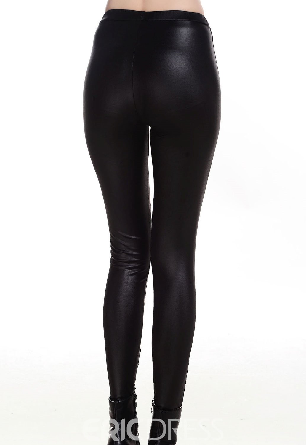 Punk Black Lace-up Faux Leather Gothic Tight Pant Legging