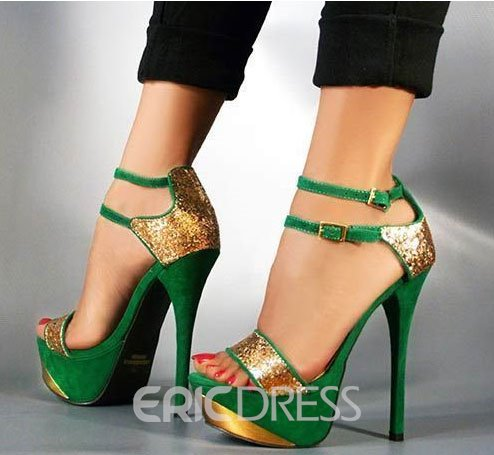 ae09bcb26b99 Gorgeous Green   Gloden Contrast Colour High Heel Sandals with Double Ankle  Strap(10875641)