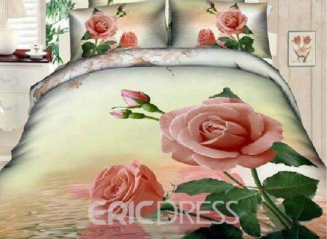 3D Pink Rose with Drops Printed Cotton 4-Piece Bedding Sets/Duvet Cover
