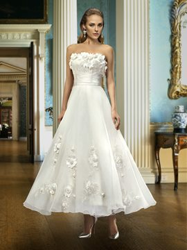 Ericdress Strapless 3D Flowers Ankle-Length Wedding Dress